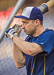 22 August 2015: Milwaukee Brewers outfielder Ryan Braun awaits his turn in the batting cage prior to a game against the Washington Nationals at Nationals Park in Washington, DC. The Nationals defeated the Brewers 6-1 in the second game of their 3-game weekend series. Mandatory Credit: Ed Wolfstein Photo *** RAW (NEF) Image File Available ***