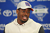 Kareem Martin #83 of the New York Giants speaks with the media after a day of training camp at Quest Diagnostics Training Center in East Rutherford, NJ on Friday, Aug. 3, 2018.