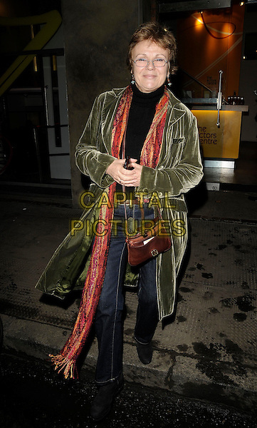 JULIE WALTERS .At The Actor's Centre 30th Birthday Party The Actor's Centre, Tower Street, London, England, 2nd November 2008..full length green velvet coat scarf glasses brown bag jeans .CAP/CAN.©Can Nguyen/Capital Pictures