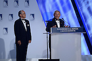 """Washington, DC - October 2, 2014: U.S. Senator Robert """"Bob"""" Menendez (D-NJ) and Rep. Ruben Hinojosa (l) introduce President Barack Obama at the Congressional Hispanic Caucus Institute's annual Awards Gala at the Washington Convention Center in the District of Columbia, October 2, 2014.  (Photo by Don Baxter/Media Images International)"""