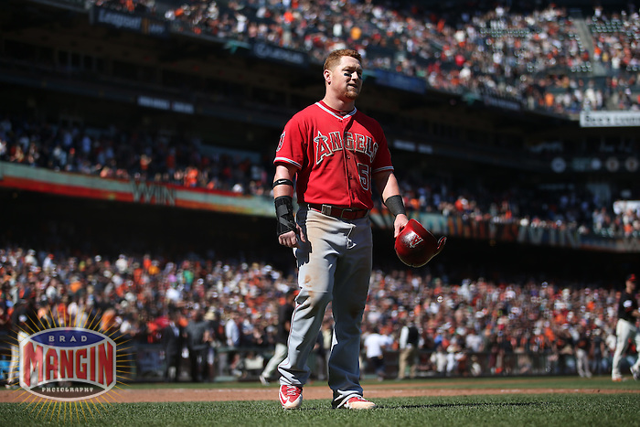 SAN FRANCISCO, CA - MAY 2:  Kole Calhoun #56 of the Los Angeles Angels walks off the field after the game against the San Francisco Giants at AT&T Park on Saturday, May 2, 2015 in San Francisco, California. Photo by Brad Mangin