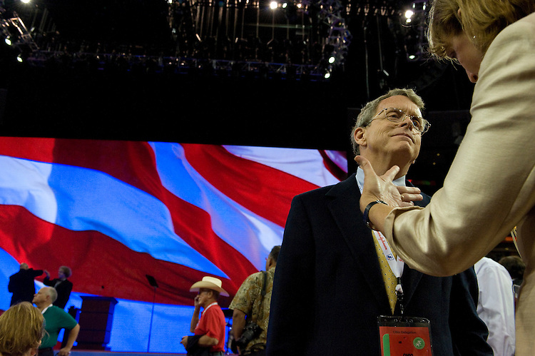 Mike DeWine talks with his wife Fran on the floor of the Xcel Energy Center during the Republican National Convention in St. Paul. September 2, 2008.