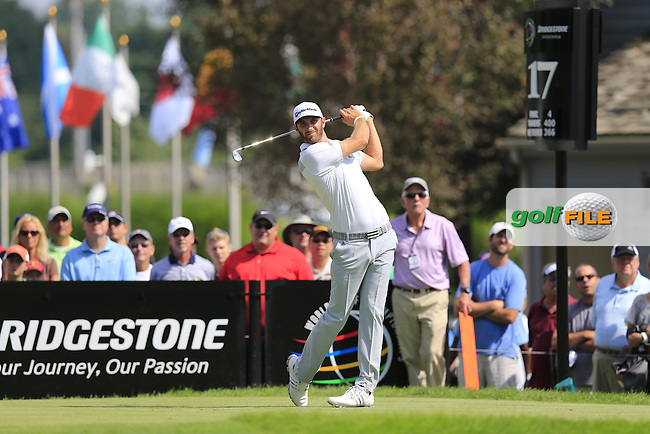 Dustin Johnson (USA) tees off the 17th tee during Thursday's Round 1 of the 2013 Bridgestone Invitational WGC tournament held at the Firestone Country Club, Akron, Ohio. 1st August 2013.<br /> Picture: Eoin Clarke www.golffile.ie