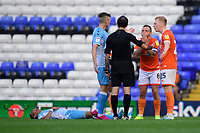 Blackpool's Jay Spearing reacts as Referee Paul Marsden awards a decision against his side<br /> <br /> Photographer Chris Vaughan/CameraSport<br /> <br /> The EFL Sky Bet League One - Coventry City v Blackpool - Saturday 7th September 2019 - St Andrew's - Birmingham<br /> <br /> World Copyright © 2019 CameraSport. All rights reserved. 43 Linden Ave. Countesthorpe. Leicester. England. LE8 5PG - Tel: +44 (0) 116 277 4147 - admin@camerasport.com - www.camerasport.com