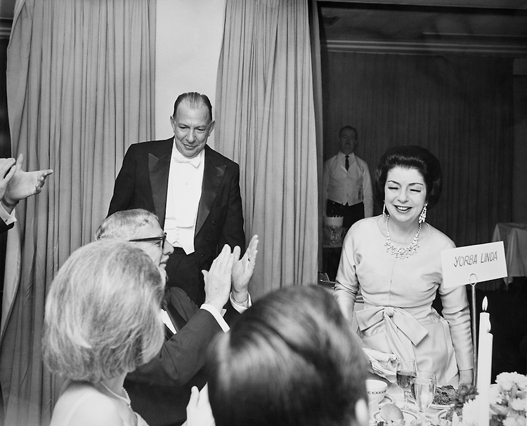 William Hanes Ayres, R-Ohio, with Miss Kafity at a Ohio Dinner. 1965 (Photo by Mickey Senko/CQ Roll Call)