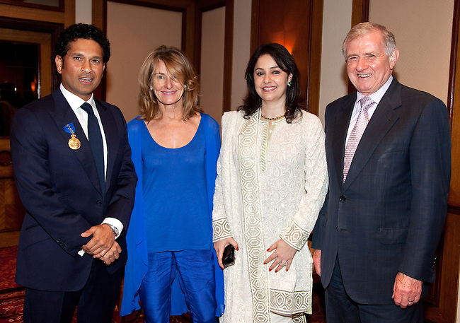 6 November 2012, Mumbai, India:  The Hon. Simon Crean, Minister for Regional Development, Regional Australia, Local Government and Minister for the Arts and his wife Carole presenting Indian cricket legend Sachin Tendulkar and his wife Anjali with the Member of the Order of Australia (AM) in a ceremony in Mumbai today with Australian High Commissioner to India Peter Varghese.    Pictures by Graham Crouch