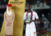 February 1st 2019; Adu Dhabi, United Arab Emirates; Asian Cup football final, Japan versus Qatar;  Most Valuable Player Award, Almoez Ali of Qatar poses on the podium