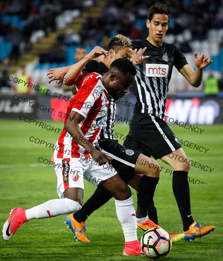 Fudbal Super League season 2016-2017<br /> Crvena Zvezda v Partizan <br /> Guelor Kanga (C) Leonardo and Marko Jevtovic (R)<br /> Beograd, 18.04.2016.<br /> foto: Srdjan Stevanovic/Starsportphoto&copy;