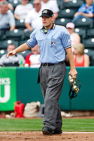 Home Plate Umpire Brandon Misun during a game between the Arkansas Travelers and the Springfield Cardinals on May 10, 2011 at Hammons Field in Springfield, Missouri.  Photo By David Welker/Four Seam Images..