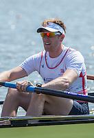 Brandenburg. GERMANY. GBR M4-. George Nash.. <br /> 2016 European Rowing Championships at the Regattastrecke Beetzsee<br /> <br /> Friday  06/05/2016<br /> <br /> [Mandatory Credit; Peter SPURRIER/Intersport-images]