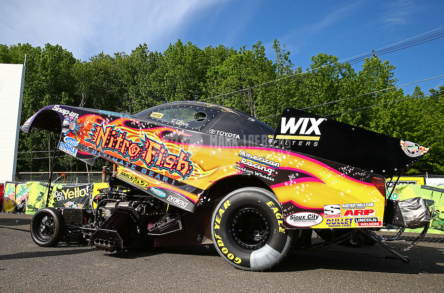 May 31, 2013; Englishtown, NJ, USA: NHRA funny car driver Tony Pedregon during qualifying for the Summer Nationals at Raceway Park. Mandatory Credit: Mark J. Rebilas-