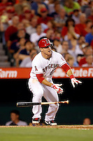 Mike Trout #27 of the Los Angeles Angels bats against the Baltimore Orioles at Angel Stadium on May 2, 2013 in Anaheim, California. Baltimore defeated Los Angeles 5-1. (Larry Goren/Four Seam Images)