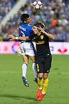 Atletico de Madrid's Filipe Luis and Club Deportivo Leganes's Unai Bustinza during the match of La Liga between Club Deportivo Leganes and Atletico de Madrid at Butarque Estadium in Leganes. August 27, 2016. (ALTERPHOTOS/Rodrigo Jimenez)