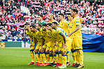 Players of UD Las Palmas line up and pose for a photo prior to the La Liga 2017-18 match between Atletico de Madrid and UD Las Palmas at Wanda Metropolitano  on January 28 2018 in Madrid, Spain. Photo by Diego Souto / Power Sport Images