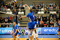 GRONINGEN - Volleybal, Lycurgus - VCV, Eredivisie, seizoen 2017-2018, 07-10-2017,  smash van Lycurgus speler Trifon Lapkov