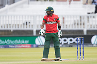 Liton Das (Bangladesh) drops his bat after he holes out during Pakistan vs Bangladesh, ICC World Cup Cricket at Lord's Cricket Ground on 5th July 2019