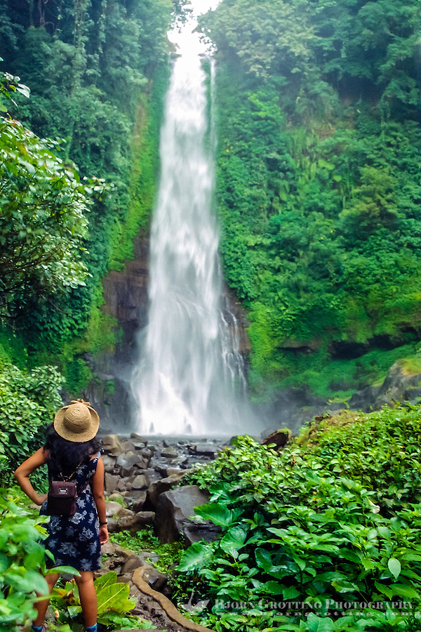 Bali, Buleleng, Singaraja. The Gitgit waterfall south of Singaraja is a popular attraction.
