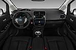 Stock photo of straight dashboard view of 2017 Nissan Leaf SL 5 Door Hatchback