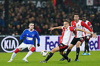 28th November 2019, Rotterdam, Netherlands; Europa League football, Feyenoord versus Glasgow Rangers;  Feyenoord player Jens Toornstra shoots and scores for 1-0 in the 33rd minute - Editorial Use