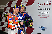 18th March 2018, Losail International Circuit, Lusail, Qatar; Qatar Motorcycle Grand Prix, Sunday race day; Andrea Dovizioso and Valentino Rossi, winner and 3rd place