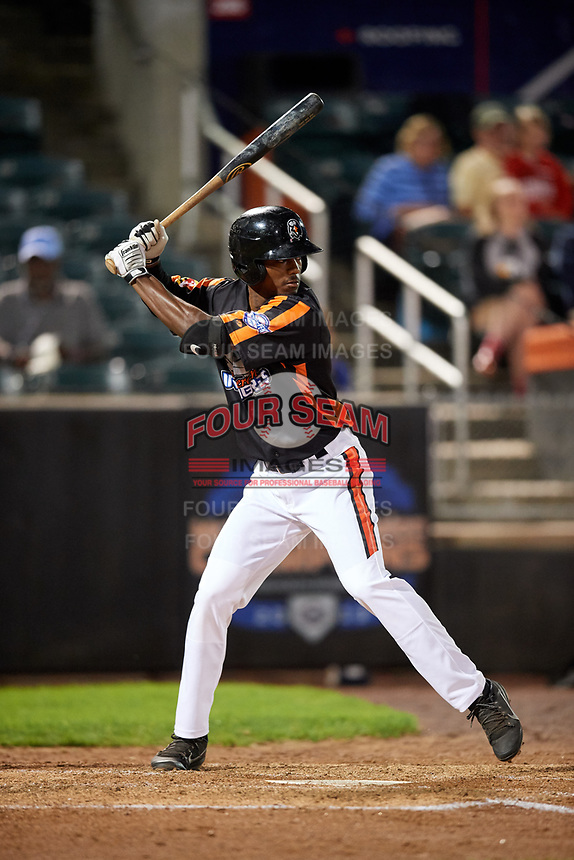 Aberdeen IronBirds left fielder Jaylen Ferguson (31) at bat during a game against the Staten Island Yankees on August 23, 2018 at Leidos Field at Ripken Stadium in Aberdeen, Maryland.  Aberdeen defeated Staten Island 6-2.  (Mike Janes/Four Seam Images)