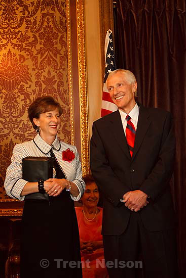Salt Lake City - Greg Bell resigned the Utah Senate and was sworn in as the state's Lieutenant Governor Tuesday, September 1 2009 at the State Capitol. .with his wife JoLynn