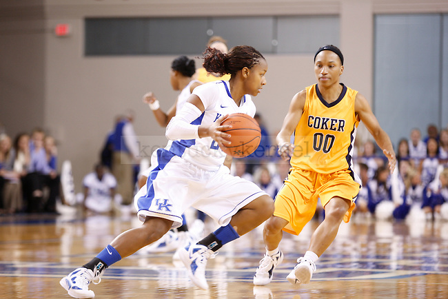 Sophomore guard Maegan Conwright dribbles the ball during the second half of UK Women's Basketball game against Coker College at Memorial Coliseum in Lexington, Ky., on Sunday, Nov. 6, 2011. Photo by Tessa Lighty | Staff