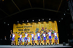 Groupama-FDJ on stage at the Team Presentations for the 105th Tour de France 2018 held on Napoleon Square in La Roche-sur-Yon, France. 5th July 2018. <br /> Picture: ASO/Bruno Bade | Cyclefile<br /> All photos usage must carry mandatory copyright credit (&copy; Cyclefile | ASO/Bruno Bade)