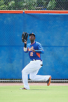 GCL Mets left fielder Grabiel Jimenez (2) catches a fly ball during a game against the GCL Marlins on August 12, 2016 at St. Lucie Sports Complex in St. Lucie, Florida.  GCL Marlins defeated GCL Mets 8-1.  (Mike Janes/Four Seam Images)