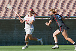 Los Angeles, CA 04/22/16 - Kylie Drexel (USC #23) and Meg Lentz (Stanford #6) in action during the NCAA Stanford-USC Division 1 women lacrosse game at the Los Angeles Memorial Coliseum.  USC defeated Stanford 10-9/