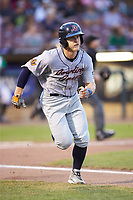 Taylor Walls (10) of the Bowling Green Hot Rods hustles down the first base line against the Dayton Dragons at Fifth Third Field on June 8, 2018 in Dayton, Ohio. The Hot Rods defeated the Dragons 11-4.  (Brian Westerholt/Four Seam Images)