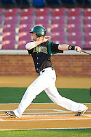 Justin Seager #10 of the Charlotte 49ers follows through on his swing against the Wake Forest Demon Deacons at Gene Hooks Field on March 22, 2011 in Winston-Salem, North Carolina.   Photo by Brian Westerholt / Four Seam Images