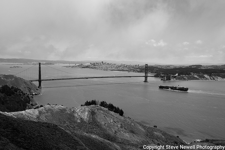 """Golden Gate Strait"" An cargo ship approaching the Golden Gate Bridge San Francisco, California. Black and White is still my favorite type of photography."