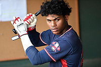 Center fielder Cristian Pache (25) of the Rome Braves warms up before a game against the Greenville Drive on Wednesday, May 31, 2017, at Fluor Field at the West End in Greenville, South Carolina. Greenville won, 7-1. (Tom Priddy/Four Seam Images)