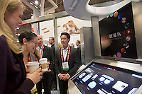 00091686 New York, New York.  1/16/2012 NATIONAL RETAIL FEDERATION TRADE SHOW.  Intel demonstrates the Macy's Beauty Spot touch screen which assists shoppers in  selecting products, at the annual National Retail Federation trade show at the Jacob Javits Convention Center in New York    FRANCES ROBERTS/FREELANCE PHOTOGRAPHER