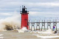 64795-02302 South Haven Lighthouse with high waves crashing South Haven,  MI