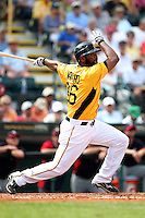 Pittsburgh Pirates outfielder Yamaico Navarro #36 during a spring training game against the Minnesota Twins at McKechnie Field on March 10, 2012 in Bradenton, Florida.  Minnesota defeated Pittsburgh 4-2.  (Mike Janes/Four Seam Images)