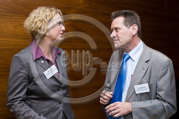 """BRUSSELS  -  BELGIUM  - 29 JUNE 2011 --  IF  and Bayer HealthCare Pharmaceuticals launch event of the report """"Act against Europe's most common birth defects: one year on"""" at Radisson Blu EU Hotel. -- Silke Mader, Chairwoman of the European Foundation for the Care of Newborn Infants (EFCNI) and Pierre Mertens, President of the International Federation for Spina Bifida and Hydrocephalus (IF). --  PHOTO: Juha ROININEN /  EUP-IMAGES"""