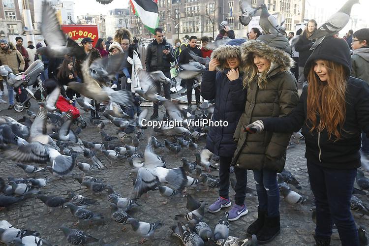Foto: VidiPhoto<br /> <br /> AMSTERDAM &ndash; Alle duiven op de Dam zijn dol op toeristen en andersom en dat zal wel nooit veranderen. Dankzij enkele &lsquo;zzp&rsquo;ers&rsquo; met strooigoed, worden de handen -en vaak hoofden- van Dambezoekers dagelijks rijkelijk voorzien van duivenvoer. Vervolgens moet er afgerekend worden, want de &lsquo;zwervende ondernemers&rsquo; staan daar niet uit charitatieve overwegingen. De uitzonderlijk populaire toeristische attractie echter is illegaal, maar meestal wordt een oogje dicht geknepen. Amsterdam doen zijn uiterste best om de overlast van de &lsquo;vliegende ratten&rsquo; tot een minimum te beperken. Duiven produceren jaarlijks 12 kilo poep waardoor afvoeren en goten verstopt raken en zo voor miljoenen euro&rsquo;s aan schade veroorzaken. Dat nog los van de vervuiling op zich en de schade die de mest veroorzaakt aan de monumentale panden.