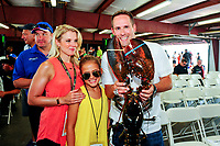 July 16, 2017 - Loudon, New Hampshire, U.S. -  New England Patriots offensive coordinator Josh McDaniels holds the lobster that will be awarded to the winner of the NASCAR Monster Energy Overton's 301 race held at the New Hampshire Motor Speedway in Loudon, New Hampshire. Eric Canha/CSM