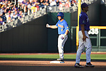 OMAHA, NE - JUNE 26: Jonathan India (6) of the University of Florida cheers after hitting a ground rule double that led to two runs scored against Louisiana State University during the Division I Men's Baseball Championship held at TD Ameritrade Park on June 26, 2017 in Omaha, Nebraska. The University of Florida defeated Louisiana State University 4-3 in game one of the best of three series. (Photo by Jamie Schwaberow/NCAA Photos via Getty Images)