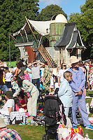 2016 09 18<br /> Pictured: Picnic-goers at The Great Pyjama Picnic, Bute Park, Cardiff. Sunday 18 September 2016<br /> Re: Roald Dahl&Otilde;s City of the Unexpected has transformed Cardiff City Centre into a landmark celebration of Wales&Otilde; foremost storyteller, Roald Dahl, in the year which celebrates his centenary.