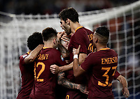 Calcio, Serie A: Roma vs Juventus. Roma, stadio Olimpico, 14 maggio 2017. <br /> Roma&rsquo;s Radja Nainggolan, center, celebrates with teammates after scoring during the Italian Serie A football match between Roma and Juventus at Rome's Olympic stadium, 14 May 2017. Roma won 3-1.<br /> UPDATE IMAGES PRESS/Isabella Bonotto
