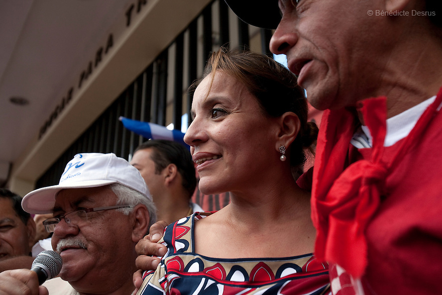 7 July 2009 - Tegucigalpa, Honduras  Xiomara Castro de Zelaya, Manuel Zelaya's wife during a press conference in Tegucigalpa  adressed to supporters of ousted Honduran President Manuel Zelaya. Photo credit: Benedicte Desrus