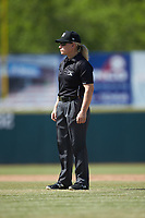 Umpire Jennifer Pawol handles the calls on the bases during the South Atlantic League game between the Lakewood BlueClaws and the Hickory Crawdads at L.P. Frans Stadium on April 28, 2019 in Hickory, North Carolina. The Crawdads defeated the BlueClaws 10-3. (Brian Westerholt/Four Seam Images)