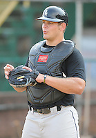 Catcher Brent Tanner (44) of the Bristol White Sox, Appalachian League affiliate of the Chicago White Sox, prior to a game against the Elizabethton Twins on August 18, 2011, at Joe O'Brien Field in Elizabethton, Tennessee. Elizabethton defeated Bristol, 13-3. (Tom Priddy/Four Seam Images)
