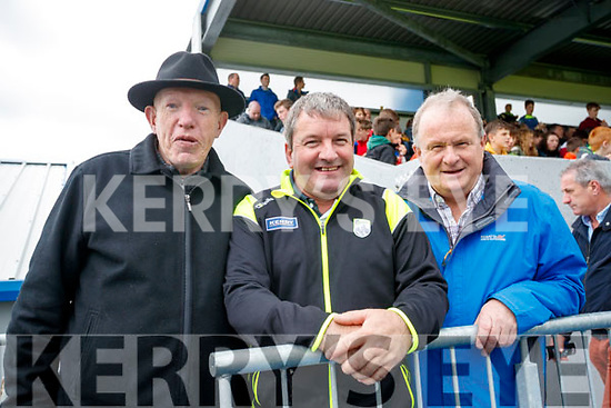 Dan Lyons (Castleisland), Bernard 'Pop' Lynch (Tralee) and Matthew Kelly (Tarbert), cheering on the Kingdom at the Kerry v Clare Munster Senior Football Semi-Final in Cusack, Park, Ennis on Sunday last.