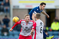 30th November 2019; Dens Park, Dundee, Scotland; Scottish Championship Football, Dundee Football Club versus Queen of the South; Josh Todd of Dundee competes in the air with Kevin Holt of Queen of the South  - Editorial Use