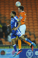 Blackpool's Ben Heneghan under pressure from Gillingham's Jordan Roberts<br /> <br /> Photographer Kevin Barnes/CameraSport<br /> <br /> The EFL Sky Bet League One - Blackpool v Gillingham - Tuesday 11th February 2020 - Bloomfield Road - Blackpool<br /> <br /> World Copyright © 2020 CameraSport. All rights reserved. 43 Linden Ave. Countesthorpe. Leicester. England. LE8 5PG - Tel: +44 (0) 116 277 4147 - admin@camerasport.com - www.camerasport.com