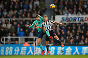 4th November 2017, St James Park, Newcastle upon Tyne, England; EPL Premier League football, Newcastle United Bournemouth; Matt Ritchie of Newcastle United and Charlie Daniels of AFC Bournemouth compete for a header